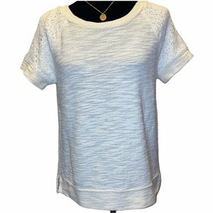 Lou & Grey ivory short sleeved sweater lace Small